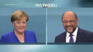 Berlin, 2017. szeptember 3. Az RTL német kereskedelmi televíziótársaság által közreadott képen Angela Merkel német kancellár, a Kereszténydemokrata Unió (CDU) elnöke (b) és kihívója, Martin Schulz, a német Szociáldemokrata Párt (SPD) vezetõje és kancellárjelöltje televíziós vitán vesz részt az RTL berlini stúdiójában 2017. szeptember 3-án. A parlamenti választásokat szeptember 24-én tartják Németországban. (MTI/AP/RTL)