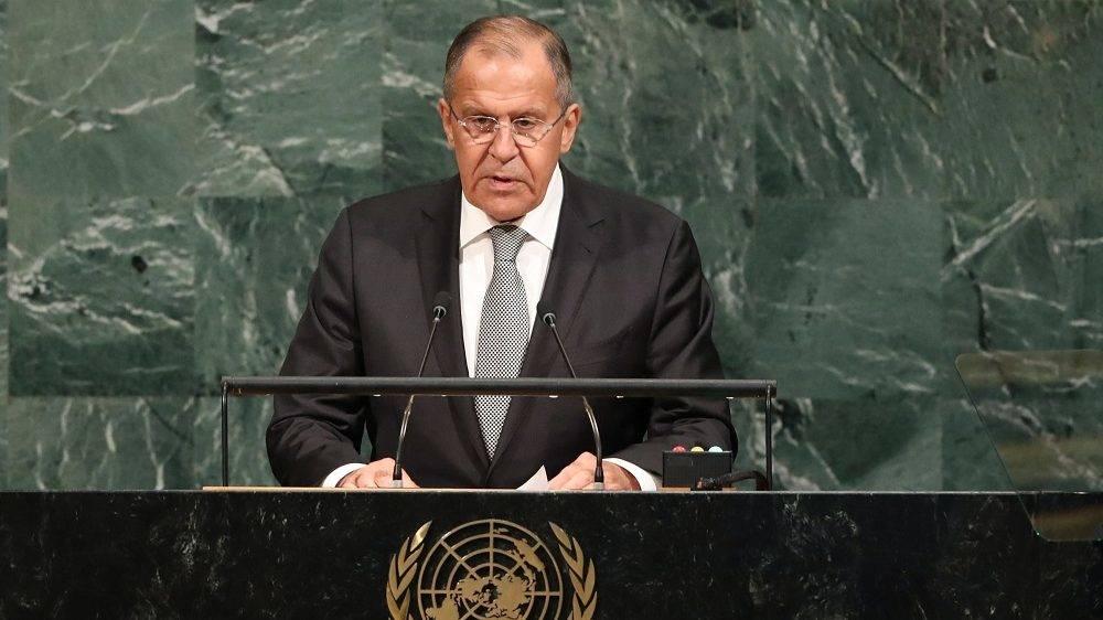 New York, 2017. szeptember 21. Szergej Lavrov orosz külügyminiszter felszólal az ENSZ Közgyûlése 72. ülésszakának ülésén a világszervezet New York-i székházában 2017. szeptember 21-én. (MTI/EPA/Andrew Gombert)