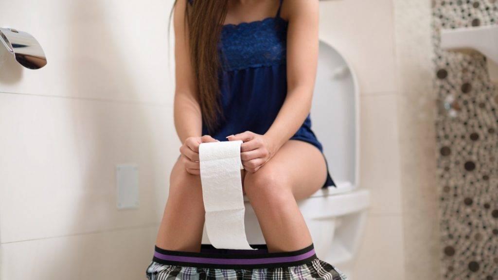 Girl on morning toilet