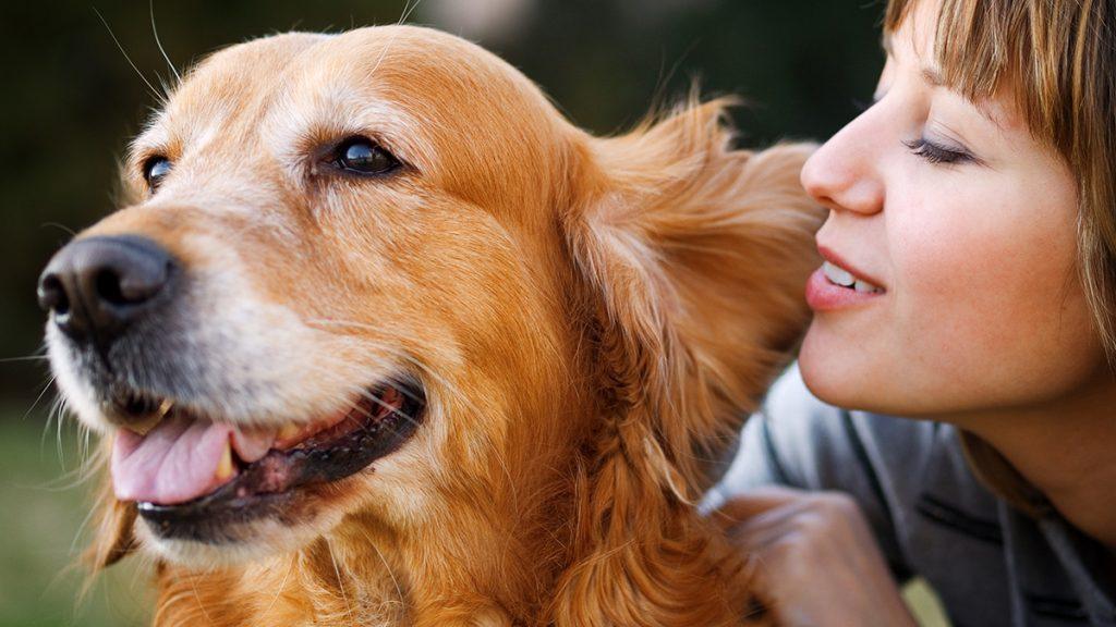 Girl whispering in her dog's ear