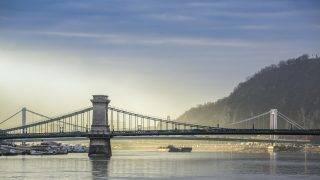 Chain Bridge and Gellert's Hill in Budapest, Hungary