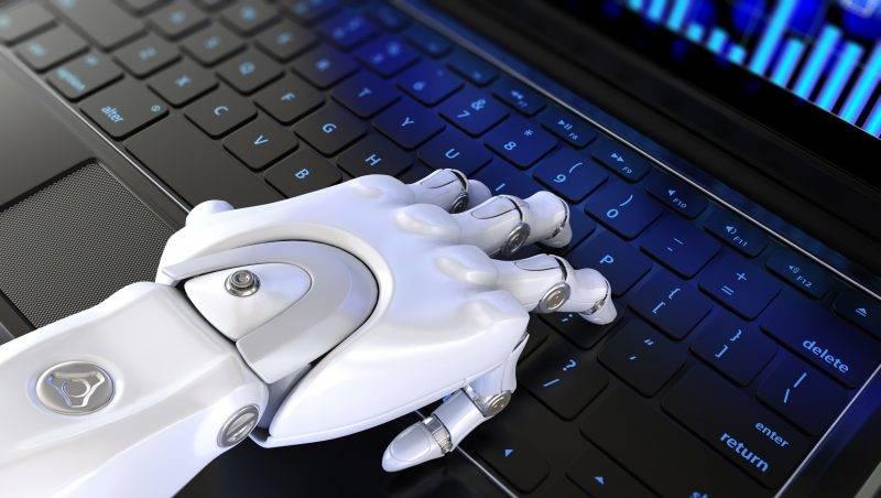 Robot's hand types on keyboard. 3D illustration