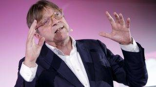 Former Prime Minister of Belgium Guy Verhofstadt speaks at the kick off of the NEOS campaign for the Austrian federal elections, in Vienna, Austria, on September 8, 2017.  The Austrian federal elections will take place on 15 October 2017.  / AFP PHOTO / APA / GEORG HOCHMUTH / Austria OUT