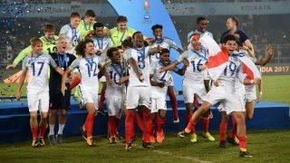 INDIA, Kolkata: England's players celebrate after winning the final FIFA U-17 World Cup football match against Spain at the Vivekananda Yuba Bharati Krirangan stadium in Kolkata on October 28, 2017.  - Tanmoy Bhaduri