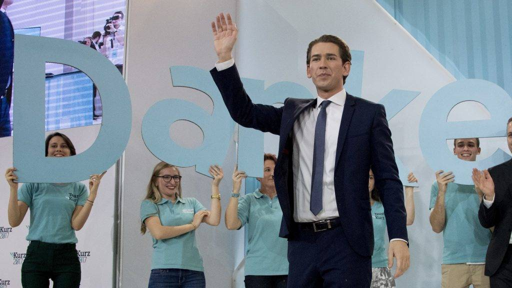 Austria's Foreign Minister and leader of Austria's centre-right People's Party (OeVP) Sebastian Kurz waves to supporters during the party's election event following the general elections in Vienna, Austria, on October 15, 2017.  / AFP PHOTO / JOE KLAMAR