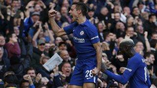 Chelsea's Spanish defender Cesar Azpilicueta (L) celebrates scoring his team's third goal during the English Premier League football match between Chelsea and Watford at Stamford Bridge in London on October 21, 2017. Chelsea won the match 4-2. / AFP PHOTO / Ian KINGTON / RESTRICTED TO EDITORIAL USE. No use with unauthorized audio, video, data, fixture lists, club/league logos or 'live' services. Online in-match use limited to 75 images, no video emulation. No use in betting, games or single club/league/player publications.  /