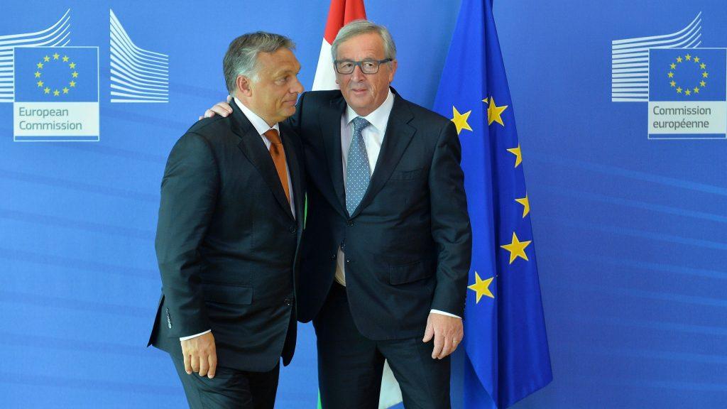 BRUSSELS, BELGIUM - SEPTEMBER 3: Hungarian Prime Minister Viktor Orban (L) meets President of the European Commission Jean-Claude Juncker (R) in Brussels, Belgium on September 3, 2015. Dursun Aydemir / Anadolu Agency