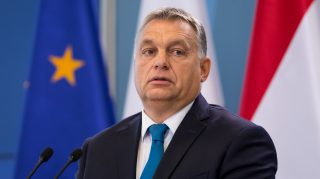 Prime Minister of Hungary Viktor Orban during the press conference after meeting with Prime Minister of Poland Beata Szydlo at Chancellery of the Prime Minister in Warsaw, Poland on 22 September 2017 (Photo by Mateusz Wlodarczyk/NurPhoto)