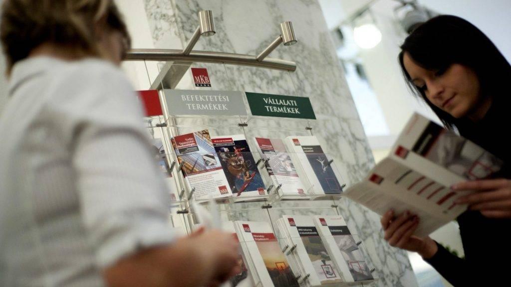 Budapest, 2011. december 2. A bank egyik munkatársa prospektusokat mutat egy ügyfélnek az MKB Bank Váci utcai fiókjában. MTI Fotó: Marjai János