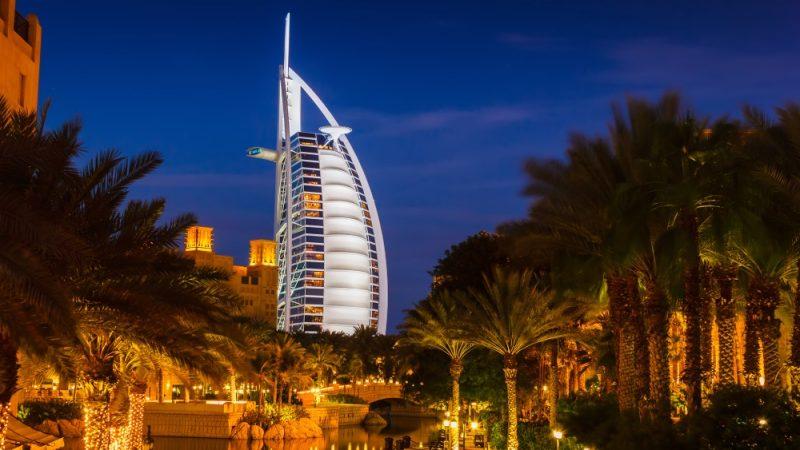 DUBAI, UAE - NOVEMBER 15: View of the hotel Burj Al Arab from Souk Madinat Jumeirah. Nov 15, 2012 in Dubai. Burj Al Arab is a luxury 7 stars hotel