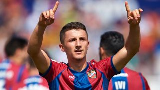 VALENCIA, SPAIN - SEPTEMBER 16:  Enis Bardhi of Levante celebrates scoring his team's first goal during the La Liga match between Levante and Valencia at Ciutat de Levante Stadium on September 16, 2017 in Valencia, Spain.  (Photo by Manuel Queimadelos Alonso/Getty Images)