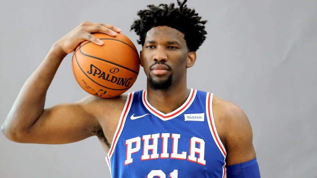CAMDEN, NJ - SEPTEMBER 25: Joel Embiid #21 of the Philadelphia 76ers poses for a portrait during the Philadelphia 76ers Media Day on September 25, 2017 at the Philadelphia 76ers Training Complex in Camden, New Jersey.NOTE TO USER: User expressly acknowledges and agrees that, by downloading and/or using this photograph, user is consenting to the terms and conditions of the Getty Images License Agreement.  (Photo by Abbie Parr/Getty Images)