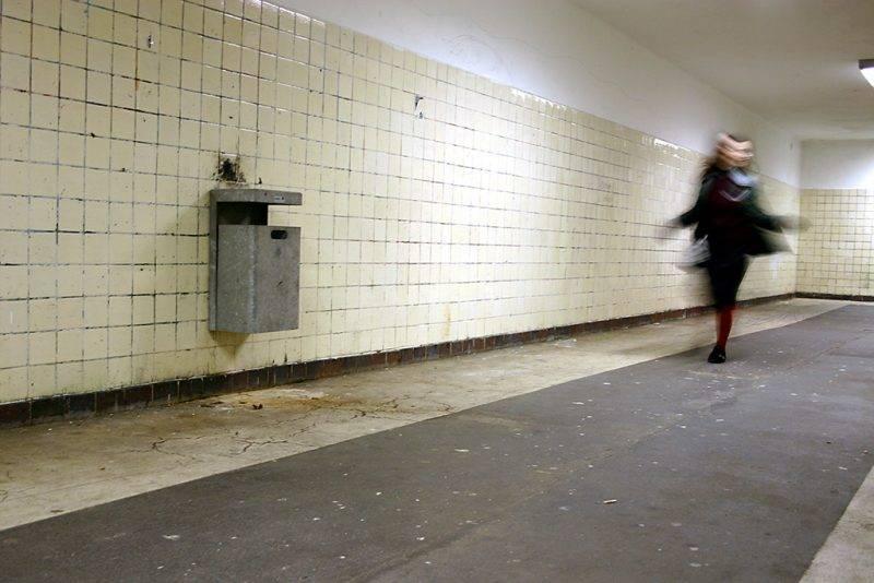 a young women is running away ...