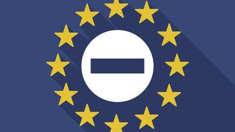 Illustration of a long shadow European Union flag with  a no trespassing signal