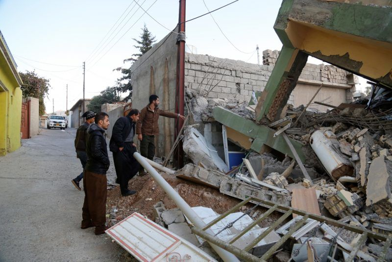 SULAYMANIYAH, IRAQ - NOVEMBER 13: A collapsed house is seen, after a 7.3 magnitude earthquake hit northern Iraq, in Derbendihan district of Sulaymaniyah, Iraq on November 13, 2017. An earthquake measuring 7.3 on the Richter scale rocked northern Iraq and Iran, the U.S. Geological Survey said on Sunday evening. At least 61 people were killed and more than 300 others injured in Iran's border areas, according to information provided by the concerned authorities, said Iran's semi-official Fars News Agency. Yunus Keles / Anadolu Agency