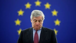 European Parliament's President Antonio Tajani arrives to attend a minute of silence in tribute to late Maltese journalist Daphne Caruana Galizia during a plenary session at the European Parliament in Strasbourg, France, October 24, 2017.  REUTERS/Christian Hartmann