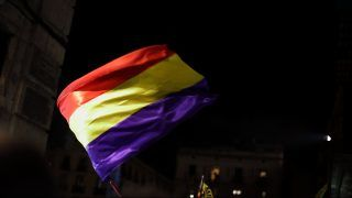 SPAIN, Barcelona: A flag waves as supporters of Catalonia's independence gather outside of City Hall in Barcelona, Spain on November 3, 2017 to demand liberty for eight Catalan separatist leaders who were jailed one day earlier. - Joana Canal