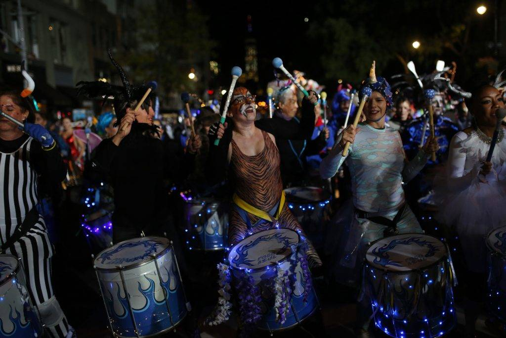 NEW YORK, UNITED STATES - OCTOBER 31: Participants wearing different costumes march during Halloween Parade in Lower Manhattan of New York, United State on October 31, 2017. Mohammed Elshamy / Anadolu Agency
