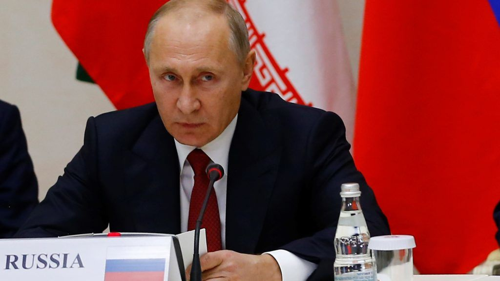 SOCHI, RUSSIA - NOVEMBER 22: Russian President Vladimir Putin attends the trilateral summit to discuss progress on Syria, between the Presidents of Turkey, Russia and Iran on November 22, 2017 in Sochi, Russia . Sefa Karacan / Anadolu Agency