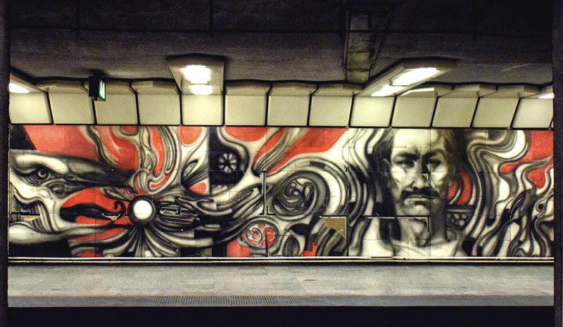 Budapest, 2017. szeptember 23.Művészi grafika az M3-as metróvonal Dózsa György úti állomásán.MTVA/Bizományosi: Róka László ***************************Kedves Felhasználó!Ez a fotó nem a Duna Médiaszolgáltató Zrt./MTI által készített és kiadott fényképfelvétel, így harmadik személy által támasztott bárminemű – különösen szerzői jogi, szomszédos jogi és személyiségi jogi – igényért a fotó készítője közvetlenül maga áll helyt, az MTVA felelőssége e körben kizárt.