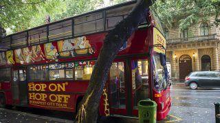 Budapest, 2015. szeptember 11. Fának ütközött emeletes városnézõ autóbusz Budapesten, az Andrássy úton 2015. szeptember 11-én. A balesetben senki nem sérült meg. MTI Fotó: Lakatos Péter