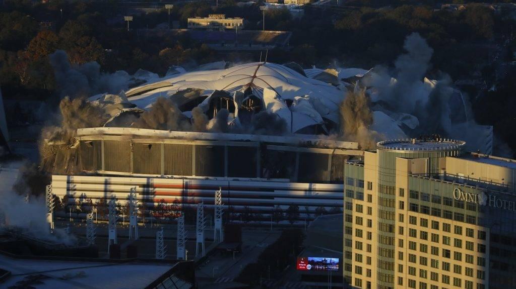 ATLANTA, GA - NOVEMBER 20: A view of the Georgia Dome implosion on November 20, 2017 in Atlanta, Georgia.   Kevin C. Cox/Getty Images/AFP