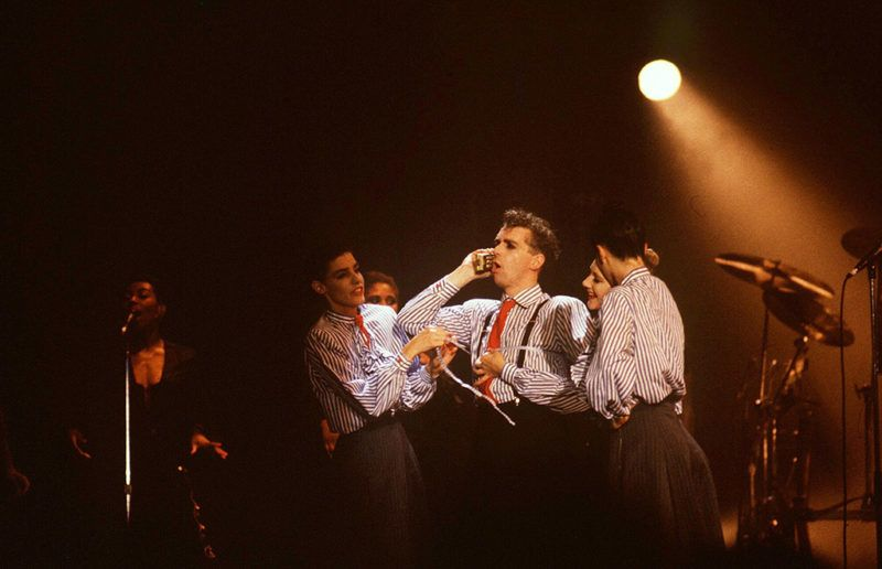Pet Shop Boys Performing At Wembley Arena In London, Britain - 1989, Pet Shop Boys - Neil Tennant (Photo by Brian Rasic/Getty Images)