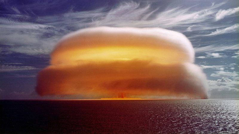This nuclear test, which was codenamed Dione, was a 34-kiloton blast conducted by France at Mururoa Atoll, also known as Aopuni, which along with its sister atoll Fangataufa was the site of nearly two hundred atomic detonations. 1971. France exploded its last nuclear bomb on Mururoa in 1996. Tuamotu Archipelago, South Pacific (PHoto by Galerie Bilderwelt/Getty Images)