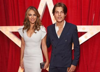 """LONDON, ENGLAND - NOVEMBER 05:  Elizabeth Hurley (L) and son Damian Hurley attend the World Premiere of """"Paddington 2"""" at Odeon Leicester Square on November 5, 2017 in London, England.  (Photo by David M. Benett/Dave Benett/WireImage)"""