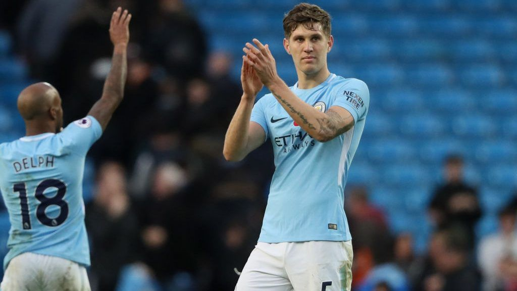 MANCHESTER, ENGLAND - NOVEMBER 05:  John Stones of Manchester City applauds the fans at the end of the Premier League match between Manchester City and Arsenal at Etihad Stadium on November 5, 2017 in Manchester, England.  (Photo by Matthew Ashton - AMA/Getty Images)