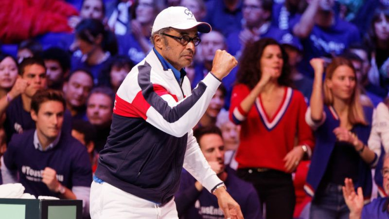 LILLE, FRANCE - NOVEMBER 26:  France team coach Yannick Noah reacts during day 3 of the Davis Cup World Group final between France and Belgium at Stade Pierre Mauroy on November 26, 2017 in Lille, France.  (Photo by Sylvain Lefevre/Getty Images)