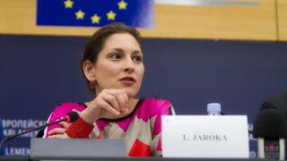 Strasbourg, 2012. május 23.  Az Európai Néppárt által közreadott felvételen JÁRÓKA Lívia magyar európa parlamenti képviselõ beszél az EU-tagországok nemzeti romastratégiáiról tartott sajtótájékoztatón az Európai Parlament strasbourgi épületében. (MTI/Európai Néppárt)