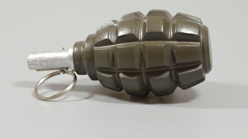 A closeup of a replica hand grenade. Photographed; Barnstaple, Devon, UK. November 2017.