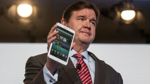 NEW YORK, NY - AUGUST 20: Mike Huseby, CEO of Barnes & Noble, speaks at a media event introducing the new Samsung Galaxy Tab 4 Nook, on August 20, 2014 in New York City. The new tablet has a 7-inch screen and will cost $179.   Andrew Burton/Getty Images/AFP