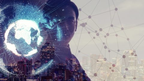 Global network concept. Internet of Things. Artificial Intelligence.