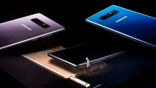 NEW YORK, NY - AUGUST 23: Justin Denison, senior vice president of product strategy at Samsung, speaks about the during new Samsung Galaxy Note8 smartphone during a launch event for the product, August 23, 2017 in New York City. The Galaxy Note8 will be released in stores on September 15. The previous Galaxy Note 7 model had to be recalled due to self-combusting batteries.   Drew Angerer/Getty Images/AFP