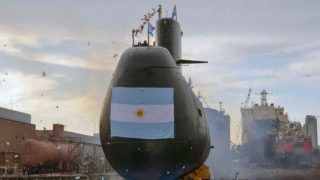 """Picture released by Telam on November 17, 2017 showing the ARA San Juan submarine in Buenos Aires. The Argentine submarine is still missing in Argentine waters after it lost communication more than 48 hours ago. / AFP PHOTO / TELAM AND ARGENTINA'S DEFENSE MINISTRY / Handout /  - Argentina OUT / RESTRICTED TO EDITORIAL USE - MANDATORY CREDIT """"AFP PHOTO / TELAM - MINISTERIO DE DEFENSA """" - NO MARKETING - NO ADVERTISING CAMPAIGNS - DISTRIBUTED AS A SERVICE TO CLIENTS"""