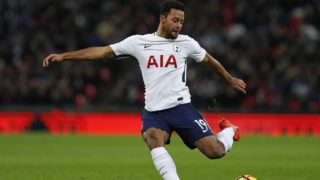 Tottenham Hotspur's Belgian midfielder Mousa Dembele has an unsuccessful shot during the English Premier League football match between Tottenham Hotspur and Stoke City at Wembley Stadium in London, on December 9, 2017. Tottenham won the game 5-1. / AFP PHOTO / Adrian DENNIS / RESTRICTED TO EDITORIAL USE. No use with unauthorized audio, video, data, fixture lists, club/league logos or 'live' services. Online in-match use limited to 75 images, no video emulation. No use in betting, games or single club/league/player publications.  /