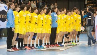03.12.2017, EWE Arena, Oldenburg, Germany, 23.IHF World Championship 2017 Women, first round, Group C, Japan vs Denmark , in the picture The national anthem before the game  ( JPN Team )   Photo © nordphoto / Rojahn