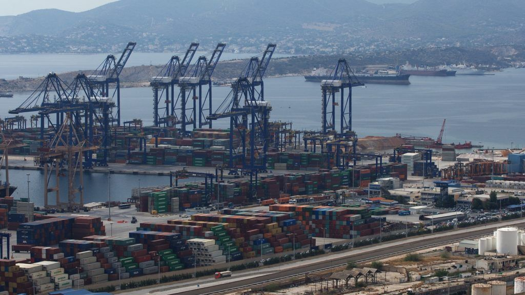 Containers shipping are seen at  the Piraeus Container Terminal, near Athens. Greece, Monday, October 23, 2017 (Photo by Danil Shamkin/NurPhoto)