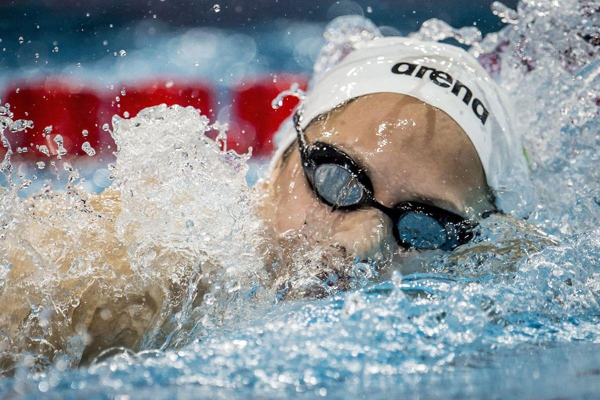 Koppenhága, 2017. december 14.Kapás Boglárka a koppenhágai rövidpályás úszó Európa-bajnokság női 800 méteres gyorsúszásának döntőjében 2017. december 14-én. Kapás ezüstérmet nyert. (MTI/EPA/Mads Claus Rasmussen)