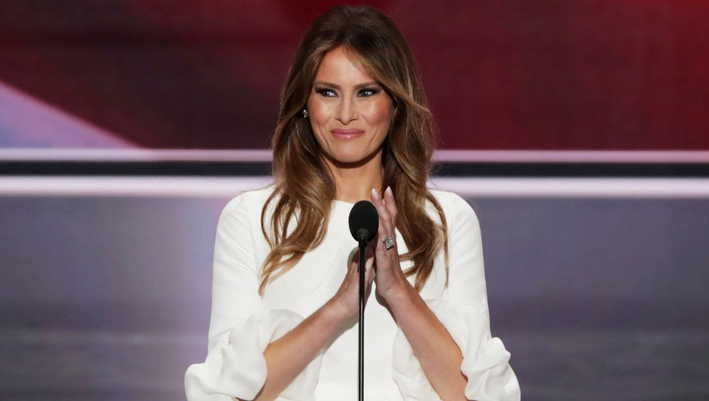 CLEVELAND, OH - JULY 18: Melania Trump, wife of Presumptive Republican presidential nominee Donald Trump, delivers a speech on the first day of the Republican National Convention on July 18, 2016 at the Quicken Loans Arena in Cleveland, Ohio. An estimated 50,000 people are expected in Cleveland, including hundreds of protesters and members of the media. The four-day Republican National Convention kicks off on July 18. (Photo by Alex Wong/Getty Images)