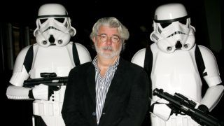 """HOLLYWOOD - OCTOBER 03:  ***EXCLUSIVE ACCESS***  Director George Lucas presents the film """"Star Wars - Episode IV: A New Hope"""" at AFI's 40th Anniversary celebration presented by Target held at Arclight Cinemas on October 3, 2007 in Hollywood, California.  (Photo by David Livingston/Getty Images for AFI)"""