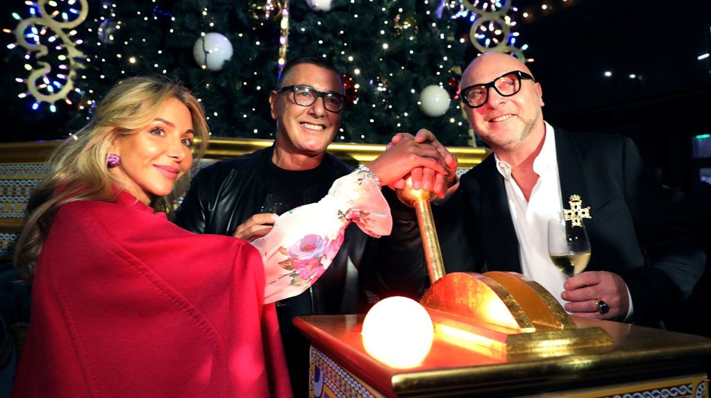 LONDON, ENGLAND - NOVEMBER 02:  (L-R) Helen David, Stefano Gabbana and Domenico Dolce attend the Dolce & Gabbana Italian Christmas Tree Lighting at Harrods on November 2, 2017 in London, England.  (Photo by David M. Benett/Dave Benett/Getty Images for Harrods)