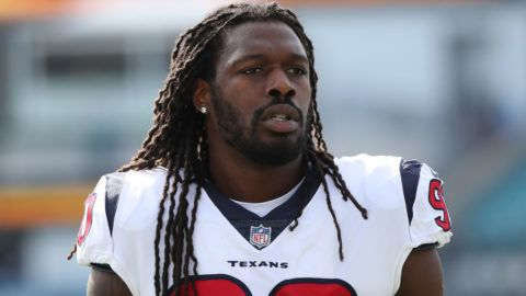 JACKSONVILLE, FL - DECEMBER 17:  Jadeveon Clowney #90 of the Houston Texans warms up on the field prior to the start of a game against the Jacksonville Jaguars at EverBank Field on December 17, 2017 in Jacksonville, Florida.  (Photo by Logan Bowles/Getty Images)