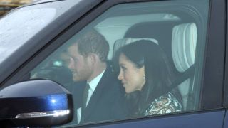 LONDON, ENGLAND - DECEMBER 20:  (EMBARGOED FOR PUBLICATION IN UK NEWSPAPERS UNTIL 24 HOURS AFTER CREATE DATE AND TIME) Prince Harry and Meghan Markle arrive for the Queen's Christmas lunch at Buckingham Palace on December 20, 2017 in London, England.  (Photo by Karwai Tang/WireImage)