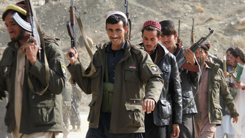 Afghan Private militia comprising of local people patrol in Pachir Agham district near Tora Bora, in Nangarhar province, Afghanistan, on December 25, 2017. More than400 residents of Pachir Agham district have raised their weapons to fight against the Islamic State (IS) who has been active in Nangarhar. (Photo by: Wali Sabawoon/NurPhoto)  (Photo by Wali Sabawoon/NurPhoto)