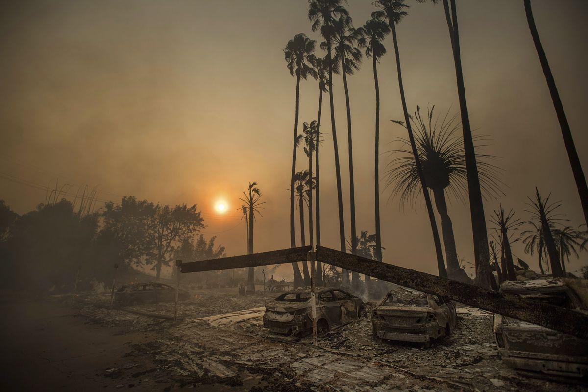 Ventura megye, 2017. december 5.Kiégett autóroncsok a kaliforniai Ventura megyében pusztító erdőtűz idején, 2017. december 5-én. Fél nap alatt több mint 12 ezer hektár vált a lángok martalékává és 25 ezer embernek kellett elhagynia az otthonát. (MTI/AP/Noah Berger)