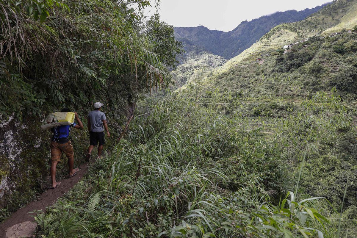 """Buscalan, 2017. december 1.Turisták érkeznek Whang-od Fülöp-szigeteki tetoválóművészhez a Manilától mintegy 400 kilométerre, északra fekvő hegyi faluban, Buscanban 2017. november 28-án. Az ősi kalinga törzshöz tartozó """"mambabatok"""", azaz tetoválóművész korát 94 és 99 év közöttire teszik. Whang-od a mai napig szénport és a pomela gyümölcsfa tüskéit használja munkái elkészítéséhez. Munkássága és az ősi hagyományok ápolása miatt a nemzet művésze kitüntetésre is várományos. (MTI/EPA/Rolex Dela Pena)"""