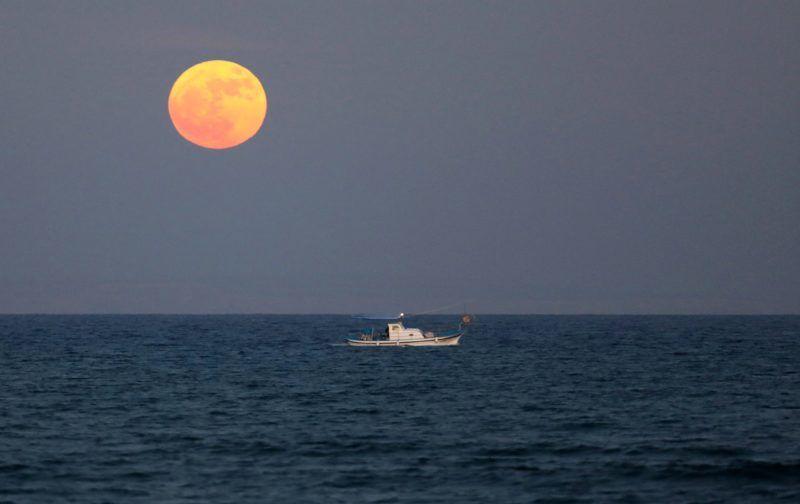 Larnaca, 2017. december 3. Közeli telihold, úgynevezett szuperhold ragyog a ciprusi Larnaca felett 2017. december 3-án. A szuperhold kifejezés az ellipszis alakú holdpálya Földhöz legközelebbi pontján bekövetkezõ telihold fázist jelöli, amikor az égitest a pályájának legtávolabbi pontjához képest nagyjából ötvenezer kilométerrel közelebb van a Földhöz, ezért az átlagosnál mintegy 14 százalékkal nagyobbnak látszik. (MTI/EPA/Katja Hrisztodolu)